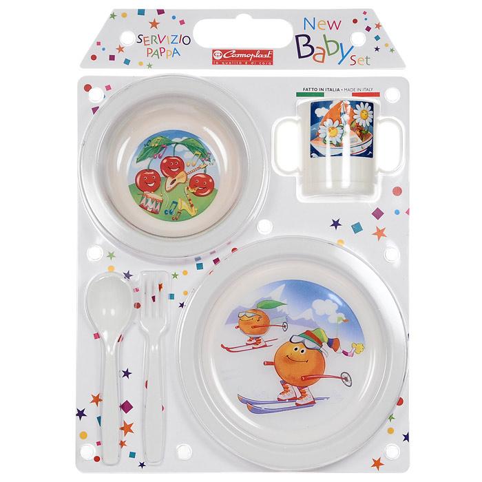 Сервиз детский New Baby Set, 5 предметов, цвет в ассортименте2390Детский сервиз New Baby Set состоит из суповой тарелки, обеденной тарелки, чашки с двумя ручками, ложки и вилки. Все предметы набора изготовлены из высококачественного пищевого пластика по специальной технологии, которая гарантирует простоту ухода, прочность и безопасность изделий для детей. Предметы сервиза оформлены красочными рисунками, которые обязательно понравятся вашему малышу.