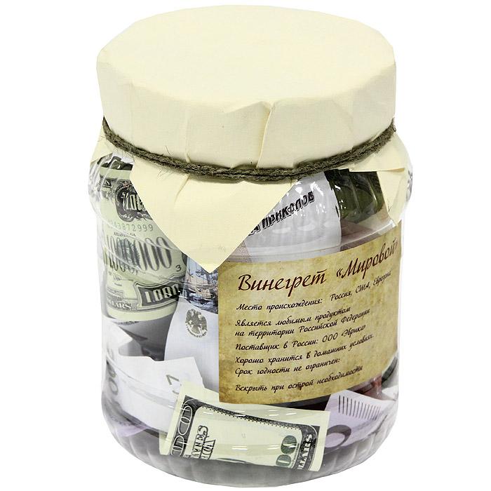 Банка Винегрет мировой92664Банка Винегрет мировой представляет собой пластиковую банку, доверху наполненную российскими, американскими и европейскими банкнотами различного номинала. Такая банка станет отличным подарком и, несомненно, удивит и порадует ее получателя. Характеристики: Материал: пластик, бумага. Высота банки: 16,5 см. Диаметр: 12,5 см. Изготовитель: Китай. Артикул: 92664.