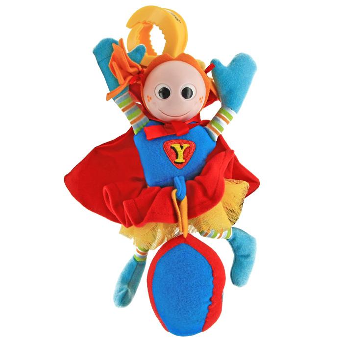 Развивающая игрушка-подвеска Супер человек, от 0 месяцев40123Развивающая мягкая игрушка-подвеска Супер человек, предназначенная для детей с самого рождения, благодаря своей яркой расцветке и приятному на ощупь материалу, привлечет внимание малыша и в игровой форме позволит ему развиваться. Играть с такой игрушкой сплошное удовольствие! Красный плащик у человечка забавно шуршит, если его помять, а в туловище, голове и мячике находятся погремушки. Благодаря пластиковой клипсе, прикрепленной к человечку яркой резинкой, игрушку можно подвесить на детскую кроватку или прогулочную коляску, а если ее потянуть вниз и отпустить, она вернется обратно, издавая шум и вибрируя. Игрушка-подвеска Супер человек развивает мелкую моторику, внимание и цветовое восприятие. Характеристики: Материал: пластик, текстиль. Рекомендуемый возраст: от 0 месяцев. Размер игрушки: 22 см х 13 см х 8 см. Размер упаковки: 25,5 см х 17 см х 6 см. Изготовитель: Китай.