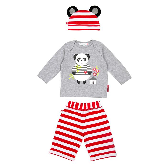 ...брюки, кофта, шапочка, цвет: серый, красный.  Рост 68 см, 0-6 месяцев...