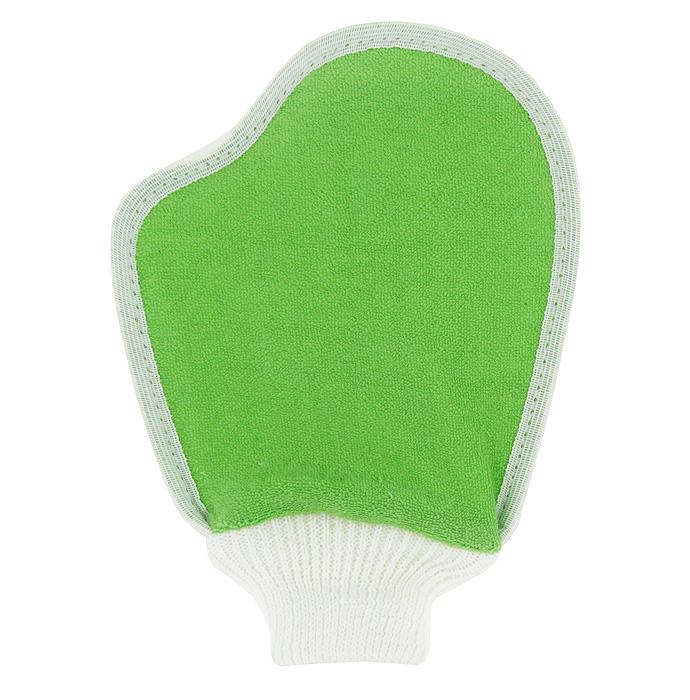 Мочалка Eva Варежка, из люфы, цвет: белый, зеленый, 17 х 23 смМ10Мочалка Eva Варежка, выполненная в виде варежки, станет незаменимым аксессуаром ванной комнаты. Мочалка отлично пенится и быстро сохнет. Одна сторона мочалки изготовлена из плодов люфы, благодаря чему она сохраняет все ценные свойства этого растения. Мочалка со средним уровнем жесткости обладает массажным эффектом, она эффективно тонизирует и очищает кожу. Идеальна для профилактики и борьбы с целлюлитом. Подходит для всех типов кожи. Не вызывает аллергии.