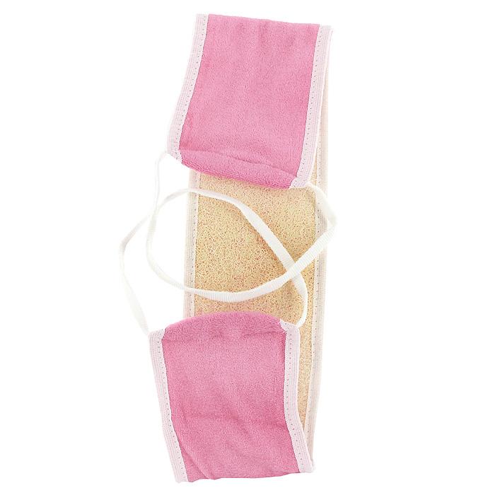 Мочалка Eva, из люфы, с ручками, цвет: розовый, 11 х 70 смМ25Мочалка Eva, изготовленная из хлопка и плодов люфы, станет незаменимым аксессуаром ванной комнаты. Мочалка отлично пенится и быстро сохнет. Мочалка эффективно тонизирует и очищает кожу. Изделие оснащено двумя ручками для большего удобства. Мочалка идеальна для профилактики и борьбы с целлюлитом. Подходит для всех типов кожи. Не вызывает аллергию.
