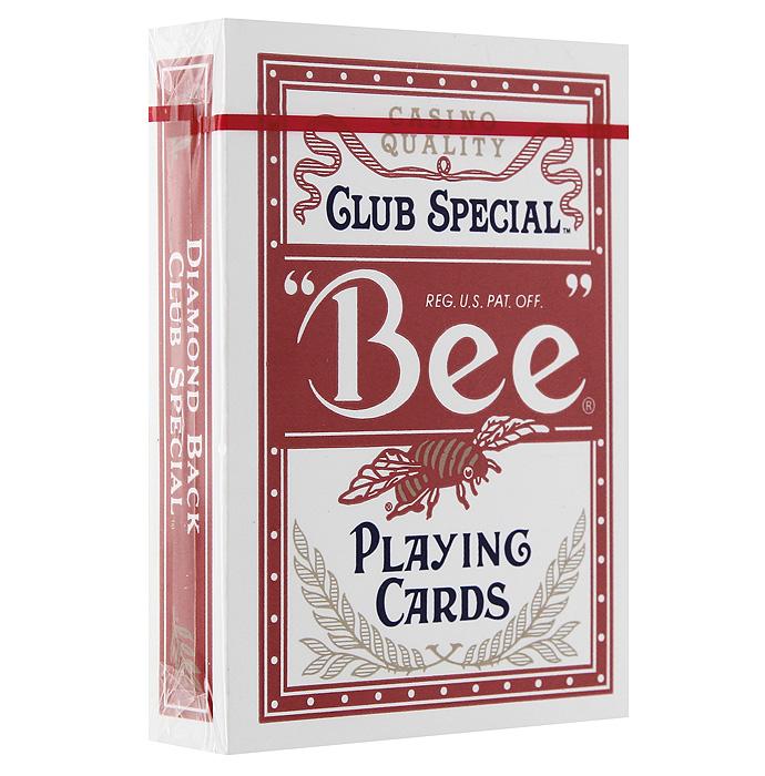 Карты игральные Bee Club Special, цвет: красный, 54 карты9100Карты Club Special Bee с традиционной равномерной рубашкой без окантовки, красного цвета. Карты Club Special Bee подходят для профессиональных игроков в покер и другие карточные игры, так как имеют очень гладкую поверхность, высококачественное покрытие и стандартный покерный размер.