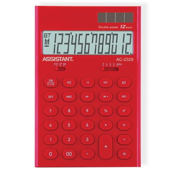 """Калькулятор """"Assistant AC-2329"""", 12-разрядный, цвет: красный"""