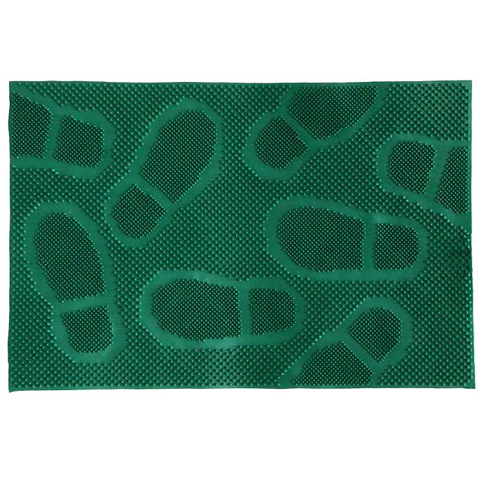 Коврик придверный Следы, цвет: зеленый, 40 х 60 см20015Придверный коврик Следы зеленого цвета выполнен из резины. Он прост в обслуживании, прочный и устойчивый к различным погодным условиям. Лицевая сторона коврика оформлена изображением следов. Прорезиненная основа коврика предотвращает его скольжение по гладкой поверхности и обеспечивает надежную фиксацию. Такой коврик надежно защитит помещение от уличной пыли и грязи.