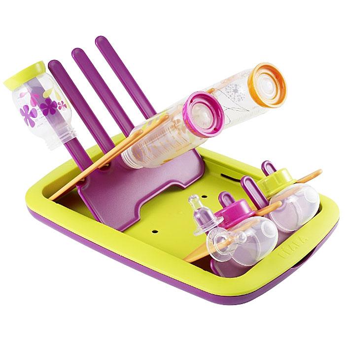 Держатель-сушилка для бутылочек Beaba, складная, цвет: фиолетовый, салатовый911372Держатель-сушилка для бутылочек Beaba позволит вам сушить и хранить после стерилизации или мойки бутылочки и аксессуары вашего малыша. После мытья наденьте бутылочки на стержни и, когда они высохнут, слейте собравшуюся воду. Держатель легко разбирается путем сдвигания гребешков друг к другу и также легко складывается, образуя плоский подносик, который не занимает много места.