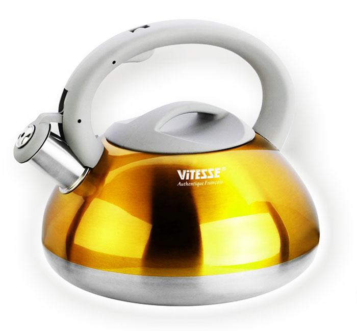 Чайник Vitesse Berit со свистком, цвет: желтый, 2,7 лVS-1115Чайник Vitesse Berit выполнен из высококачественной нержавеющей стали 18/10. Носик чайника оснащен откидной насадкой-свистком, что позволит вам контролировать процесс подогрева или кипячения воды. Чайник имеет элегантное цветное покрытие корпуса. Ручка чайника изготовлена из нержавеющей стали с силиконовым покрытием. Она имеет фиксированное положение. Чайник Vitesse Berit подходит для использования на всех типах плит. Также изделие можно мыть в посудомоечной машине.