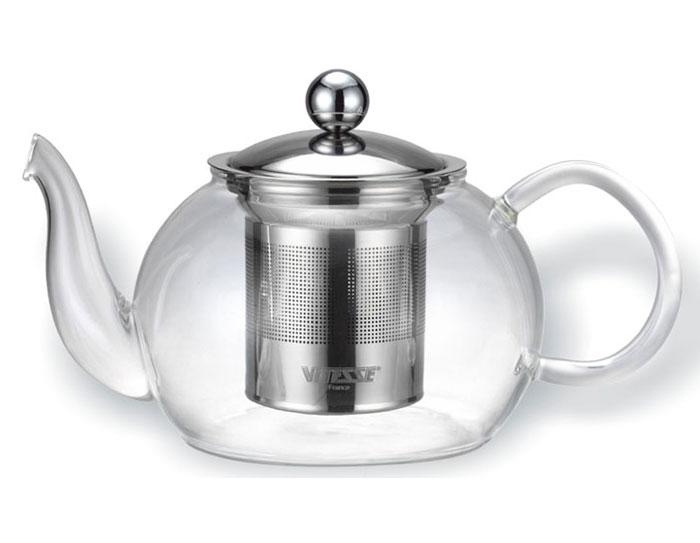 Чайник заварочный Vitesse Tiaret, с фильтром, 800 млVS-1694Заварочный чайник Vitesse Tiaret, выполненный из термостойкого стекла, предоставит вам все необходимые возможности для успешного заваривания чая. Чай в таком чайнике дольше остается горячим, а полезные и ароматические вещества полностью сохраняются в напитке. Чайник имеет вынимающийся фильтр и крышку из нержавеющей стали 18/10, горлышко и ручка изготовлены вручную. Эстетичный и функциональный, с эксклюзивным дизайном, чайник будет оригинально смотреться в любом интерьере. Чайник пригоден для мытья в посудомоечной машине. Высота чайника (без учета крышки): 8 см. Диаметр основания чайника: 7 см.