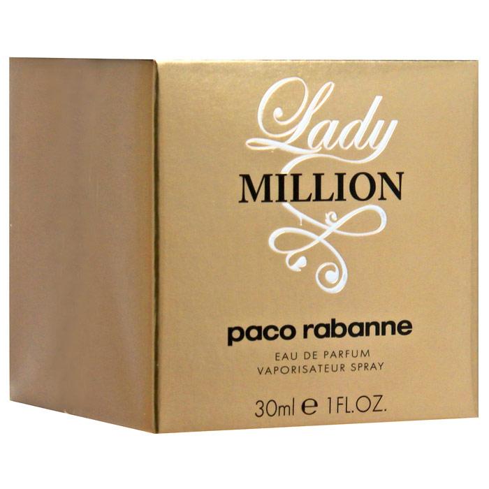 Paco Rabanne Lady Million. Парфюмерная вода, 30 мл3349668508488Женщина Lady Million в высшей степени женственная, решительная и невероятно смелая. Женщине Lady Million свойственны непринужденность и чувство юмора. Блестящая, она черпает силы в той легкости, которой обладают независимые умы. Сложный женственный образ Lady Million обладает сильным и противоречивым характером … Экстравагантная, однако настроенная на позитивный лад, обольстительница, а в душе - влюбленная, не отказывающая себе ни в чем, всегда в поиске нового, Lady Million - ослепительная роковая женщина, творческая и непокорная натура. Ни один мужчина не в силах перед ней устоять, немногим удается ее соблазнить. Встреча-шок, в которой игра обольщения, мечты и фантазии приходят в столкновение для того, чтобы как можно больше дать расцвести сверкающей вспышке двойной неизменной и вечной красоты - золоту и алмазу. Классификация аромата: цветочный, древесный. Пирамида аромата: Верхние ноты: малина, померанц, цветок апельсинового дерева. ...