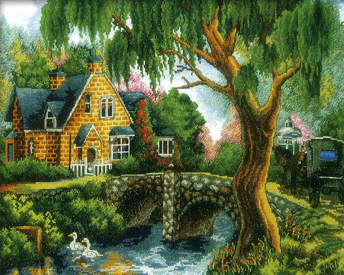 Домик в деревне, картина, природа...