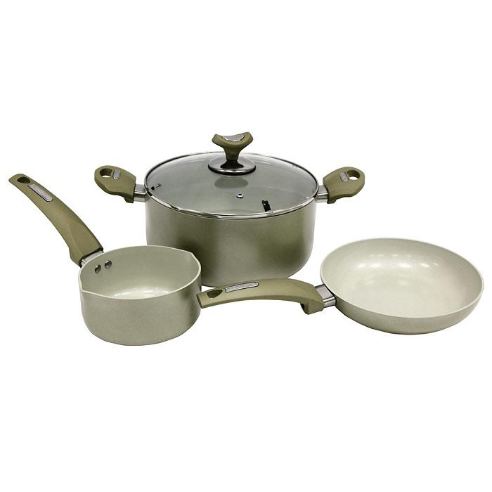 Набор посуды Vitesse, цвет: кремовый, 4 предметаVS-2218Набор посуды Vitesse прекрасно подойдет для вашей кухни. Он состоит из кастрюли с крышкой ковша и сковороды. Предметы набора изготовлены из высококачественного алюминия. Они имеют внешнее элегантное цветное покрытие, подвергшееся высокотемпературной обработке. Стойкое внутреннее антипригарное керамическое покрытие позволяет готовить при температуре 450°С. Оно обеспечивает быстрый нагрев и равномерное распределение тепла по поверхности емкости. Ручки выполнены из бакелита и имеют удобную форму. Они высокопрочные, огнестойкие и не нагреваются. Крышка, выполненная из стекла, позволит следить за процессом приготовления пищи без потери тепла. Она оснащена отверстием для выхода пара и металлическим ободом по краю. Посуду можно использовать на любых типах кухонных плит, кроме индукционной.