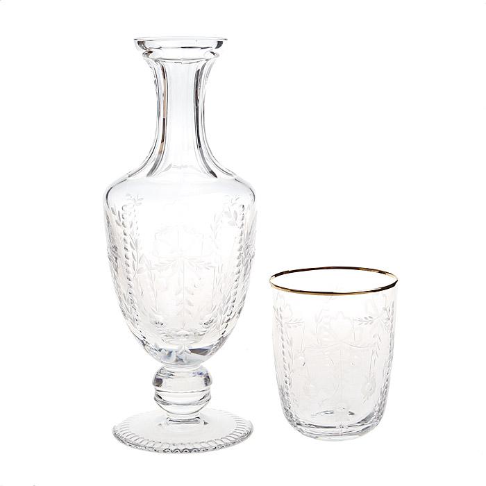 Набор для бренди из 2 предметов. Хрусталь, гранение, золочение, House of Faberge, 1990-е гг