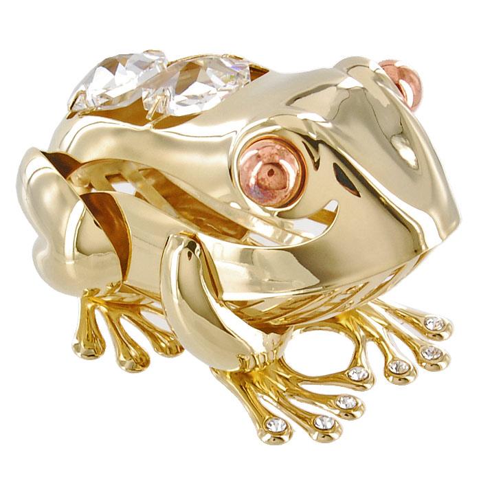 Миниатюра Большая лягушка, цвет: золотистый, 6,5 смU0250-001-GC1Декоративное изделие в виде лягушки, украшенное на спинке и лапах бесцветными кристаллами Swarovski, изготовлено из высококачественной стали. Оригинальная миниатюра будет отличным подарком для ваших друзей и коллег. Более 30 лет компания Crystocraft создает качественные, красивые и изящные сувениры, декорированные различными кристаллами Swarovski. Характеристики: Материал: сталь, кристаллы Swarovski. Длина: 6,5 см. Размер коробки: 6,5 см х 9 см х 4,5 см. Артикул: U0250-001-GC1. Производитель: Китай.