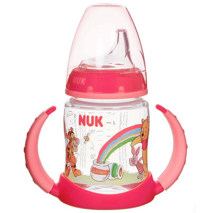 Бутылочка обучающая для питья NUK Дисней. First Choice, с силиконовой насадкой, цвет: красный, 150 мл, от 6 до 18 месяцев10 743 498Пластиковая обучающая бутылочка NUK Дисней. First Choice красного цвета разработана специально для малышей от 6 до 18 месяцев. Малыш легко перейдет от груди к бутылочке, а от бутылочки к самостоятельному питью. Мягкий носик-насадка со специальным отверстием для питья изготовлен из силикона и исключает протекание, а за съемные пластиковые ручки бутылочку очень удобно держать. Закупоривающий диск бутылочки легко вставляется в завинчивающееся кольцо, что позволяет бутылочке оставаться герметичной даже во время сильной встряски. Характеристики: Объем бутылочки: 150 мл. Высота бутылочки (без учета насадки): 9,5 см. Рекомендуемый возраст: от 6 до 18 месяцев. Материал: полипропилен, пластик, силикон.