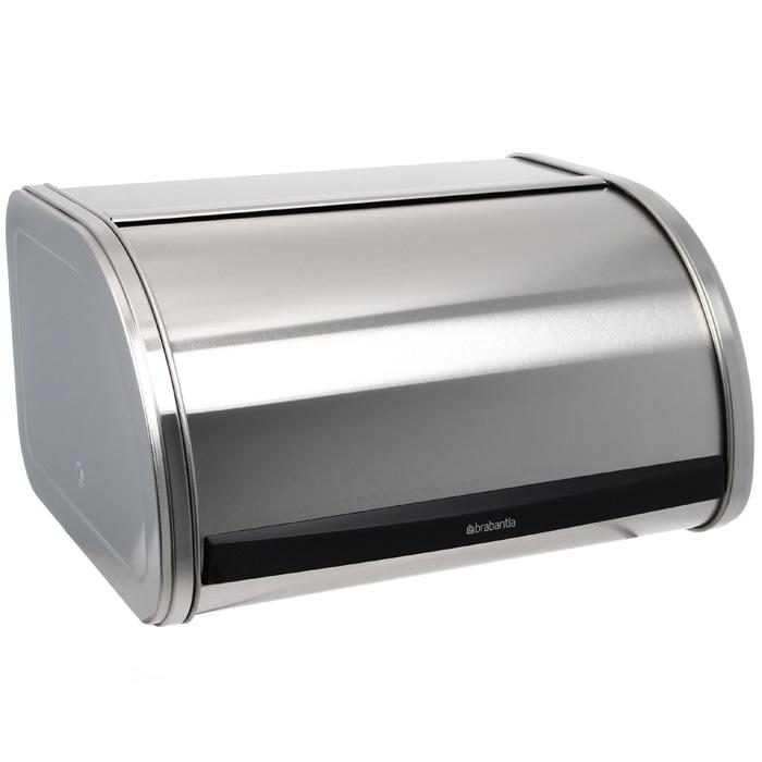 Хлебница Brabantia, цвет: матовый стальной348907Хлебница Brabantia изготовлена из матовой коррозионностойкой стали, которая не поглощает запахов и не окрашивается. Рифленая внутренняя поверхность дна, предназначена для лучшей циркуляции воздуха внутри хлебницы. Плоская верхняя поверхность хлебницы позволяет размещать на ней емкости для хранения и другие предметы. Такая хлебница не занимает дополнительного пространства при открывании и подойдет для маленькой кухни: экономит пространство благодаря небольшим размерам и сдвигающейся крышке. Характеристики: Материал: нержавеющая сталь, пластик. Размер хлебницы: 31 см х 16,5 см х 25 см. Размер упаковки: 34 см х 18 см х 27,5 см. Производитель: Бельгия. Артикул: 348907. Гарантия производителя: 5 лет.