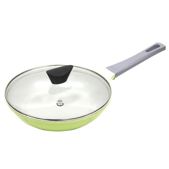 Сковорода Frybest Rainbow, 24 cм, цвет: зеленый, светлое внутреннее покрытие. CA-F24GК + Крышка в ПОДАРОКCA-F24GКСковорода Frybest изготовлена по новейшей технологии из литого алюминия с керамическим антипригарным покрытием Ecolon, в производстве которого используются природные материалы безопасные для здоровья. Благодаря специальному утолщенному дну, сковорода равномерно распределяет тепло. Непревзойденная прочность сковороды и устойчивость к царапинам позволяет использовать металлические аксессуары при приготовлении пищи, а эргономичная удлиненная ручка с силиконовым покрытием soft-touch, имеет оригинальное технологическое крепление к телу сковороды и всегда остается холодной. Прозрачная крышка, выполненная из термостойкого стекла с клапаном для выпуска пара, позволяет следить за процессом приготовления пищи. Изделие можно использовать на газовых, электрических и керамических плитах. Характеристики: Материал: алюминий, керамика, стекло, силикон. Диаметр: 24 см. Высота стенки: 5 см. Длина ручки: ...