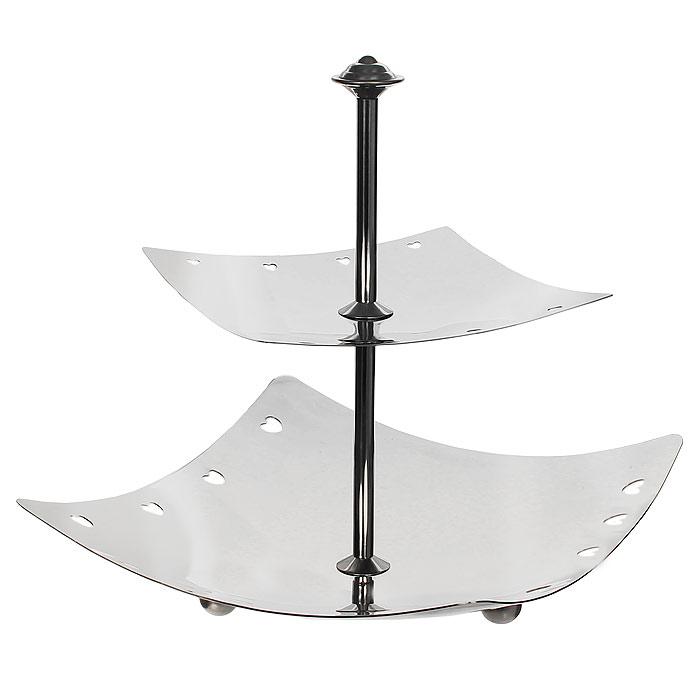 Поднос двухярусный Vitesse RaineVS-1295Двухярусный поднос Raine изготовленный из высококачественной нержавеющей стали с полировкой, станет незаменимым атрибутом при сервировке праздничного стола. На нижнем ярусе подноса имеются три ножки, выполненные в виде шариков, что придает подносу устойчивости. Современный стильный дизайн и функциональность позволят подносу занять достойное место на Вашей кухне.