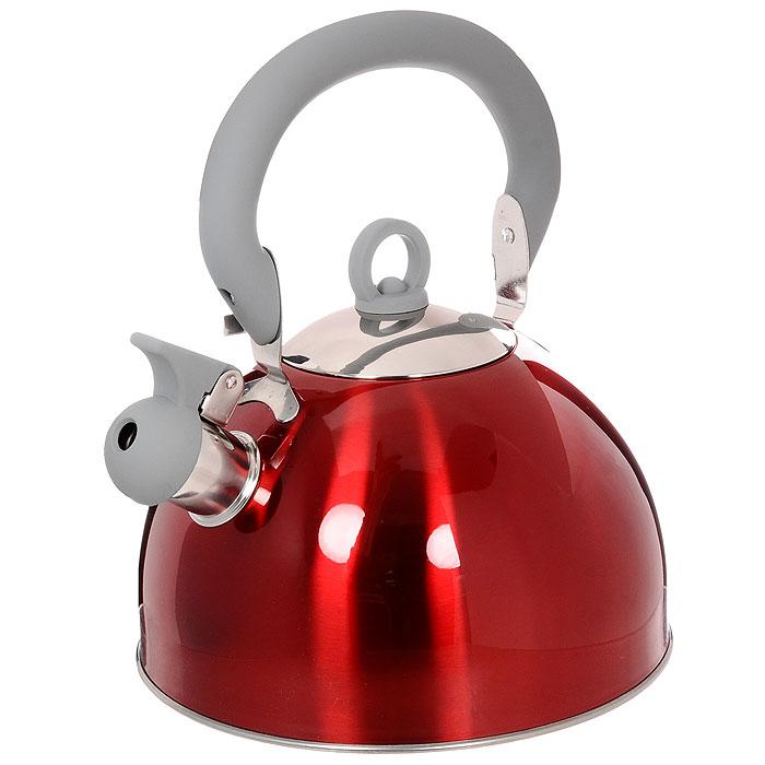 Чайник Vitesse Hanya со свистком, цвет: красный, 2,5 лVS-1114Чайник Vitesse Hanya выполнен из высококачественной нержавеющей стали 18/10. Капсулированное дно с прослойкой из алюминия обеспечивает наилучшее распределение тепла. Носик чайника оснащен откидной насадкой-свистком, что позволит вам контролировать процесс подогрева или кипячения воды. Чайник имеет элегантное цветное покрытие корпуса. Подвижная ручка чайника изготовлена из нержавеющей стали с силиконовым покрытием. Чайник Vitesse Hanya подходит для использования на всех типах плит. Также изделие можно мыть в посудомоечной машине.