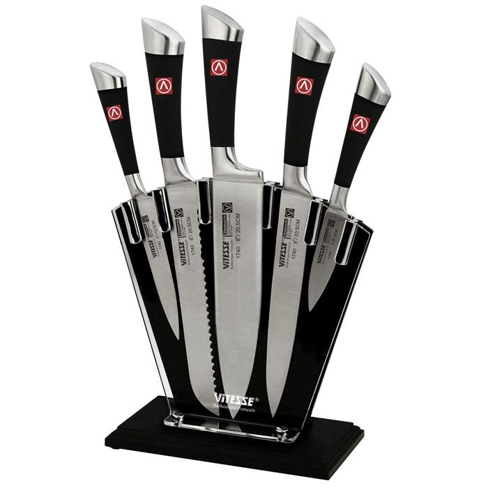 Набор ножей Vitesse Damaris, 6 предметовVS-1740Набор ножей Vitesse Damaris изготовлен из высококачественной нержавеющей стали 420J2. Такой набор предоставит вам все необходимые возможности в успешном приготовлении пищи и порадует вас своими результатами. Для клинков кухонных ножей Vitesse используется высоко-углеродистая каленая сталь AISI 420J2, которая обеспечивает высокие режущие свойства кромки клинка. Сечение ножей - клинообразно, что позволяет режущей кромке клинка быть продолжительное время острой. Тщательно разработанный дизайн рукоятки и качество ее шлифовки позволяет ножу удобно располагаться в руке. Оригинальная удобная подставка станет стильным аксессуаром любой кухни. В набор входят: Нож поварской - гибкость у окончания клинка позволяет нарезать, утолщенное основание клинка позволяет рубить мясо, рыбу, овощи и фрукты. Плоской поверхностью клинка можно давит чеснок или отбивать мясо. Обух клинка можно применять для дробления костей. Нож хлебный - нож с зубчатой кромкой лезвия...