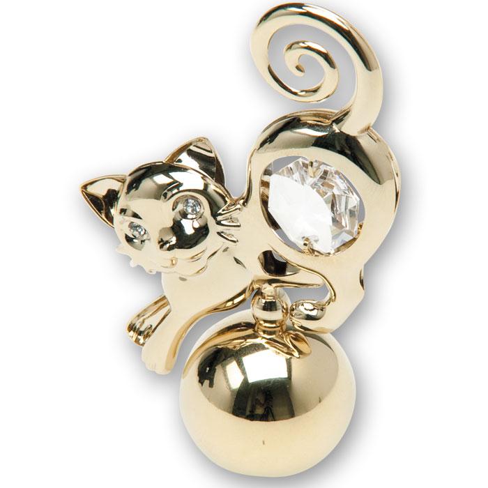 Миниатюра Кошка, цвет: золотистый, 7,5 смU0330-055-GC1Декоративное изделие в виде изящной кошки изготовлено из высококачественной стали с использованием кристаллов Swarovski. Оригинальная миниатюра будет отличным подарком для ваших друзей и коллег. Более 30 лет компания Crystocraft создает качественные, красивые и изящные сувениры, декорированные различными кристаллами Swarovski.