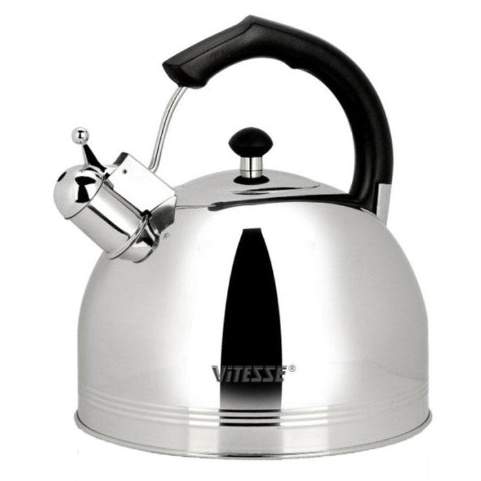 Чайник Vitesse Classic со свистком, 4,5 л. VS-7805VS-7805Чайник Vitesse Classic выполнен из высококачественной нержавеющей стали 18/10. Капсулированное дно с прослойкой из алюминия обеспечивает наилучшее распределение тепла. Носик чайника оснащен откидным свистком, что позволит вам контролировать процесс подогрева или кипячения воды. Прочная бакелитовая ручка не нагревается, имеет фиксированное положение. Чайник Vitesse Classic подходит для использования на всех типах плит. Также изделие можно мыть в посудомоечной машине. Характеристики: Материал: нержавеющая сталь 18/10, бакелит. Диаметр основания чайника: 24 см. Высота чайника (с учетом крышки и ручки): 25 см. Объем: 4,5 л. Размер упаковки: 25 см х 24 см х 26 см. Изготовитель: Китай. Артикул: VS-7805. Кухонная посуда марки Vitesse из нержавеющей стали 18/10 предоставит вам все необходимое для получения удовольствия...