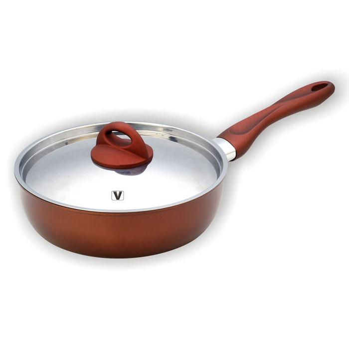 Сковорода Vitesse Blythe, с антипригарным покрытием. Диаметр 24 смVS-1164Сковорода Vitesse Blythe станет незаменимым помощником на кухне. Сковорода изготовлена из высококачественной углеродистой стали толщиной 1,2 мм. Внешнее элегантное цветное покрытие, подвергшееся высокотемпературной обработке, устойчиво к царапинам. Внутреннее антипригарное покрытие Exdura 2 также устойчиво к царапинам. Бакелитовая ненагревающаяся ручка удобной формы. Крышка выполнена из нержавеющей стали с двумя отверстиями для выпуска пара. Пригодна для мытья в посудомоечной машине. Подходит для всех видов варочных панелей. Характеристики: Материал: сталь, бакелит. Диаметр сковороды: 24 см. Высота стенок сковороды: 7 см. Длина ручки: 20 см. Размер упаковки: 38 см х 33 см х 14 см. Производитель: Франция. Изготовитель: Китай. Артикул: VS-1164. Французская торговая марка Vitesse представляет высококачественную посуду из нержавеющей стали 18/10. Vitesse профессионально...