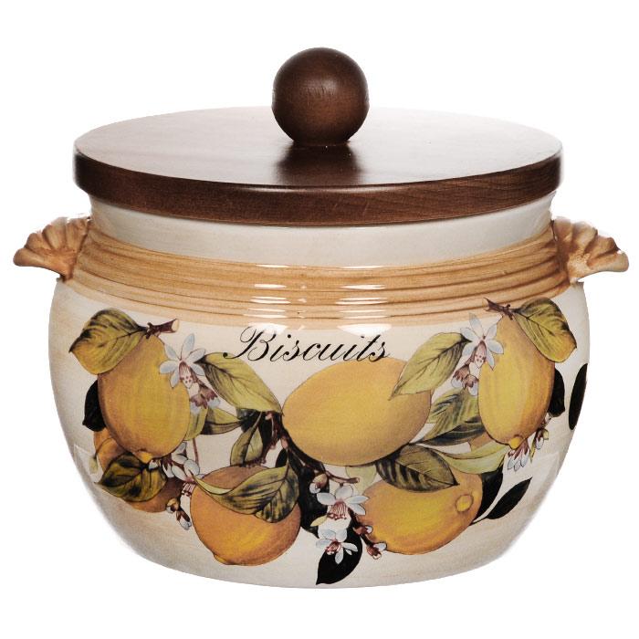 Банка для продуктов LCS Итальянские лимоны Biscuits 2,0 л LCS670GL-CL-ALLCS670GL-CL-ALБанка для сыпучих продуктов Итальянские лимоны. Biscuits изготовлена из высококачественной керамики. Цветочный рисунок на бежевом фоне выглядит особенно привлекательно. Крышка выполнена из натурального дерева и снабжена резиновым кольцом-уплотнителем для лучшей фиксации.