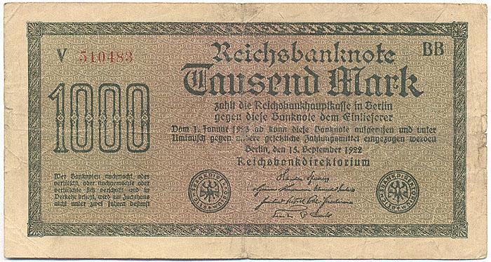 Банкнота номиналом 1000 марок. Германия. 1922 год
