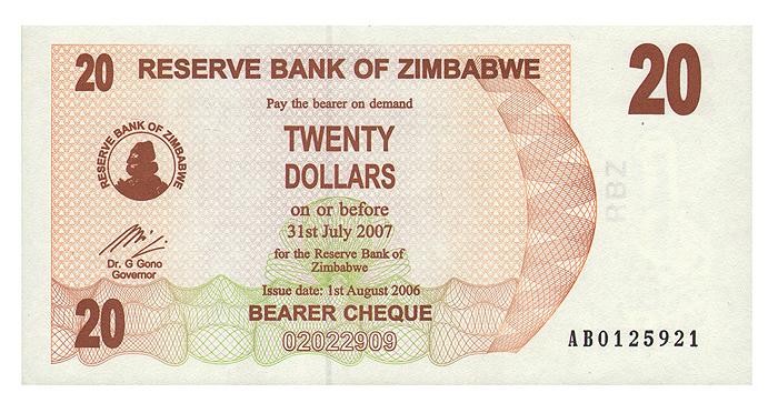 Банкнота номиналом 20 долларов. Зимбабве, 2006 год211104Размер 14,6 х 7,4 см.