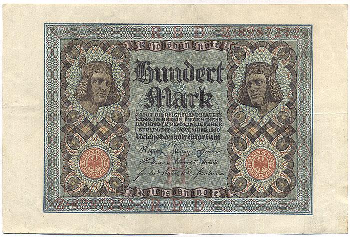 Банкнота номиналом 100 марок. Германия. 1920 год211104Размер 16,2 х 10,7 см.