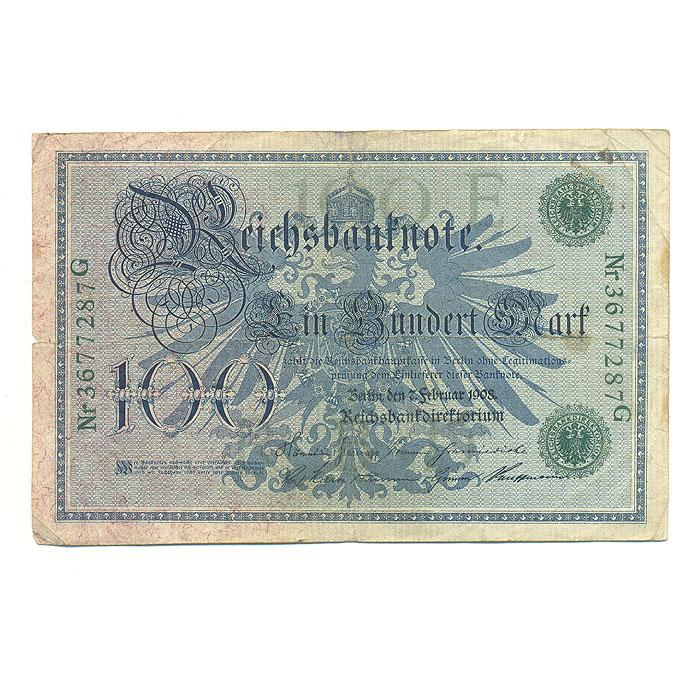 Банкнота номиналом 100 марок. Германия. 1908 год211104Размер 15,7 х 10,2 см.