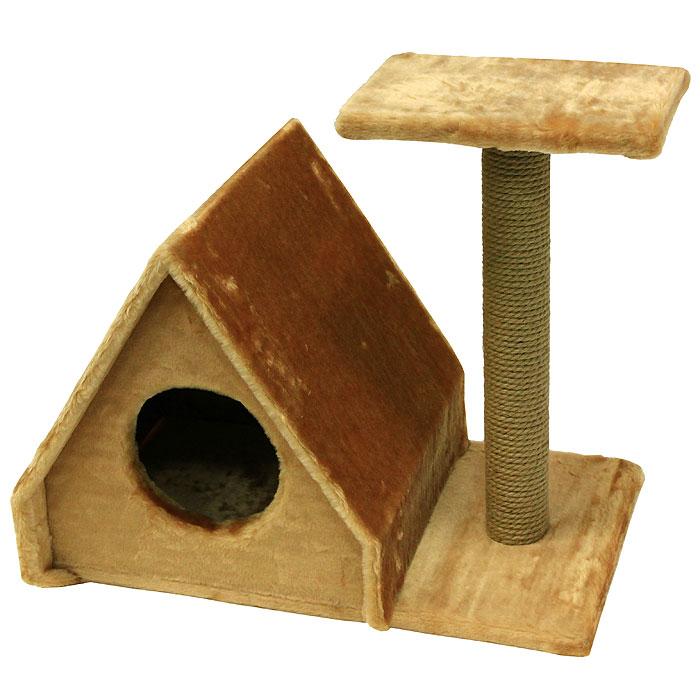 """Домик для кошек Пушок """"Избушка"""", с когтеточкой, цвет: светло-коричневый, 43 см х 40 см х 41 см 4640000931063"""