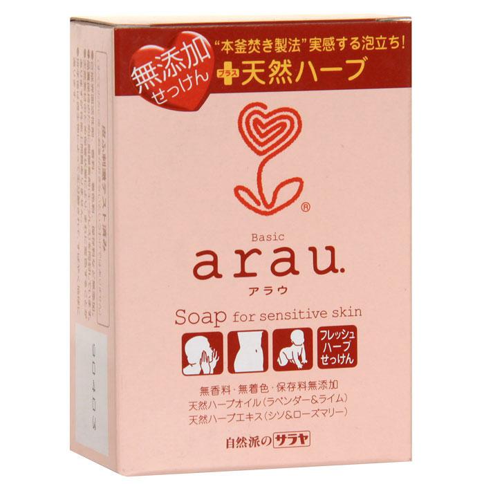 Мыло Arau, на основе трав, 100 г25751Мыло Arau не содержит консервантов, красителей или ароматизаторов, изготовлено из компонентов растительного происхождения. Нежная пена прекрасно смывает загрязнения и ухаживает за кожей, сберегая необходимую влагу. Натуральные масла лаванды и лайма, а также натуральные травяные экстракты периллы и розмарина очищают и дезодорируют, придают тонкий аромат трав. Рекомендуется для чувствительной кожи, подверженной стрессам. Характеристики: Вес: 100 г. Производитель: Япония. Товар сертифицирован.
