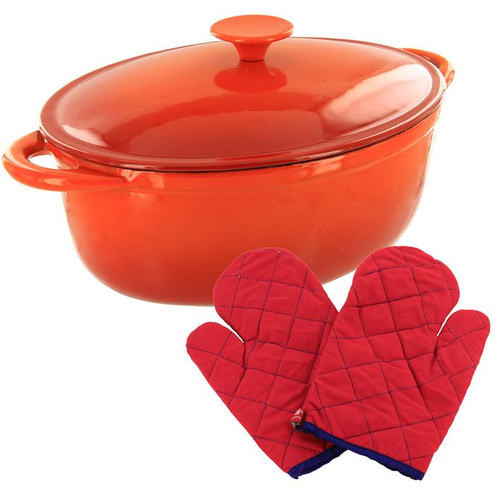 Жаровня чугунная Vitesse Amari с прихватками, 4 лVS-1584Жаровня с крышкой Vitesse Amari, изготовленная из чугуна с антикоррозионным покрытием, станет незаменимым помощником на вашей кухне. Высокая теплоемкость чугуна позволяет ему сильно нагреваться и медленно остывать, а это в свою очередь обеспечивает равномерное приготовление продуктов. Пища, приготовленная в чугунной посуде, сохраняет свои вкусовые качества, и благодаря экологической чистоте материала, не может нанести вред здоровью человека. Также чугунная жаровня обладает высокой прочностью и износоустойчивостью. Жаровня имеет эмалированное внутреннее покрытие черного цвета. Она оснащена двумя короткими удобными ручками и чугунной крышкой. В комплект также входят две прихватки-рукавицы. Жаровня подходит для использования на всех видах кухонных плит. Изделие можно мыть в посудомоечной машине.