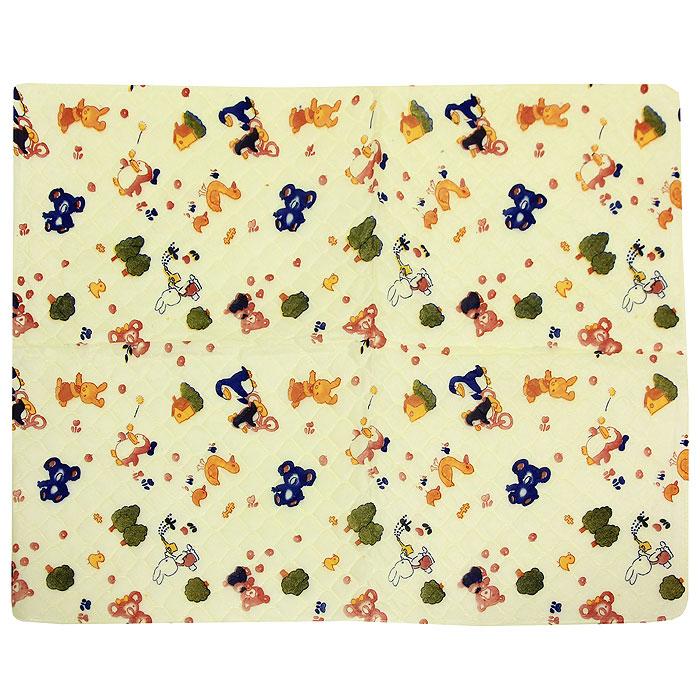 Подстилка детская Сказка , непромокаемая, цвет: желтый, 43 см х 53 см.