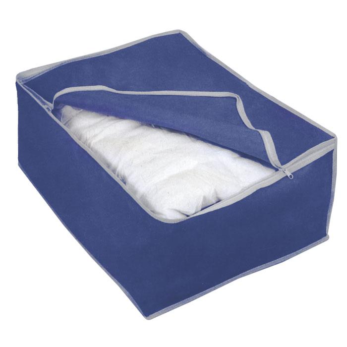Футляр для хранения Airy, цвет: синий, 60 см х 46 см х 26 см75.04.38Удобный футляр для хранения Airy прямоугольной формы выполнен из прочного нетканого материала. Он закрывается клапаном на застежку-молнию. Такой футляр отлично защитит ваши вещи от загрязнений, пыли, влаги и поможет надолго сохранить их безупречный вид во время хранения и транспортировки.