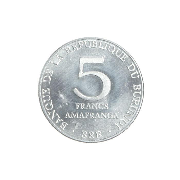 Монета номиналом 5 франков. Металл. Бурунди, 1980 год211104Монета номиналом 5 франков. Металл. Бурунди, 1980 год. Диаметр 2,5 см. Сохранность хорошая.