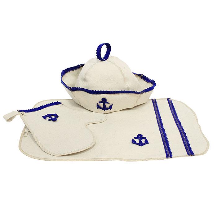 Набор для бани и сауны Моряк, 3 предмета904720Набор для бани и сауны Моряк, выполненный из натуральной шерсти, привлечет внимание любителей модных тенденций в банной одежде. В набор входят все необходимые аксессуары, для того чтобы банный поход принес вам только радость. Набор состоит из коврика, шапки и рукавицы. Шапка - незаменимая вещь в парной. Она необходима для того, чтобы не перегреть голову, также она должна хорошо впитывать влагу. Коврик убережет вас от горячей полки, защитит вас в общественной бане, а варежка обезопасит ваши руки от горячего пара или ручки ковша. Рукавицей можно также прекрасно помассировать тело.