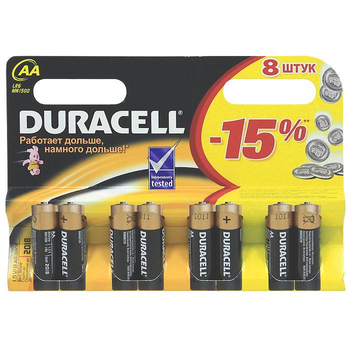 Набор батареек Duracell, тип AA, 8 штDRC-81480361Набор батареек Duracell предназначен для использования в различных электронных устройствах.