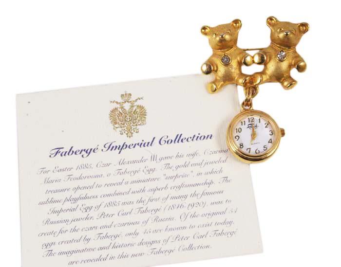 Часы - брошь Мишки. Металл, позолота, австрийские кристаллы. House of Faberge, 1990-е гг