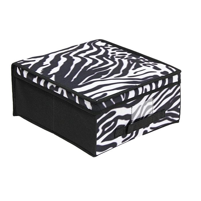 """Кофр для хранения  """"Valiant """", цвет: зебра, 28 см х 30 см х 16 см."""