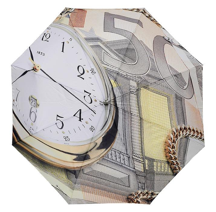 Зонт Flioraj Время и деньги, автомат, 3 сложения014-1 FJАвтоматический зонт Flioraj Время и деньги в 3 сложения даже в ненастную погоду позволит вам оставаться стильной и элегантной. Купол зонта выполнен из прочного полиэстера и оформлен оригинальным изображением циферблата часов и части банкноты. Ветростойкий каркас зонта выполнен из карбона и оснащен восемью спицами и удобной прорезиненной рукояткой из пластика. Зонт имеет полный автоматический механизм сложения: купол открывается и закрывается нажатием кнопки на рукоятке. Стержень складывается вручную до характерного щелчка, благодаря чему открыть и закрыть зонт можно одной рукой, что чрезвычайно удобно при входе в транспорт или помещение. Если каркас зонта вывернет наизнанку из-за сильного ветра, вам достаточно будет закрыть зонт и вновь его открыть. На рукоятке, для удобства, есть небольшой шнурок, позволяющий надеть зонт на руку тогда, когда это будет необходимо. К зонту прилагается чехол, такого же дизайна как купол.