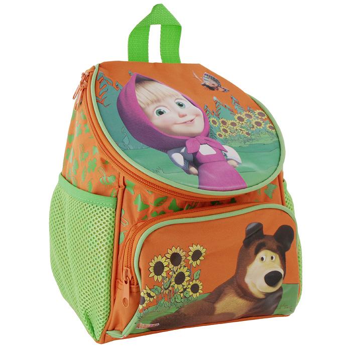 Рюкзак детский Маша и Медведь, цвет: оранжевый15254Детский рюкзак Маша и Медведь оранжевого цвета выполнен из плотной ткани и оформлен красочной аппликацией героев одноименного мультсериала. Рюкзак имеет одно основное отделение, закрывающееся на застежку-молнию и вместительный карман на внешней стороне. По бокам рюкзак снабжен двумя сетчатыми карманами на резинке. Рюкзак оснащен двумя текстильными лямками, регулирующимися по длине и текстильной ручкой для удобной переноски. Порадуйте свою малышку таким замечательным подарком. Характеристики: Размер рюкзака: 24 см х 26 см x 16 см. Материал: полиэстер, пластик, текстиль.