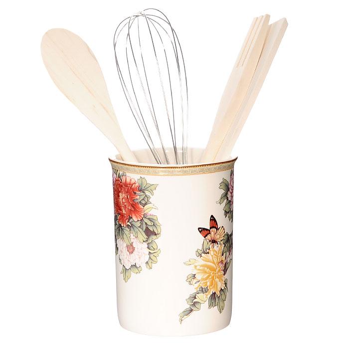 Подставка с кухонными принадлежностями Японский сад, 5 предметовIM55002-1730ALПодставка с кухонными принадлежностями Японский сад идеально впишется в интерьер вашей кухни. Подставка выполнена из керамики и оформлена красочным рисунком. Дизайн, эстетичность и функциональность подставки позволят ей стать достойным дополнением к кухонному инвентарю. В комплект входят: металлический венчик, деревянные лопатка, вилка и ложка. Каждая хозяйка знает, что подставка для кухонных принадлежностей - это незаменимый и очень полезный аксессуар на каждой кухне. Поэтому такая подставка с кухонными принадлежностями будет отличным подарком!