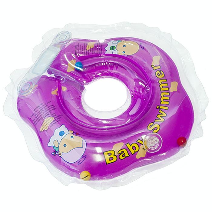 Круг на шею Baby Swimmer, с погремушкой, цвет: фиолетовый, 3-12 кгBS02F-B/фиолет_0-24месКруг на шею Baby Swimmer с погремушкой внутри предназначен для купания малышей с рождения в домашних условиях или на открытом воздухе на глубине не более 1 метра. Одетый на шею ребенка круг не доставляет малышу никакого дискомфорта, ввиду применения технологии внутреннего шва, который делает края мягкими на ощупь. На внутренней стороне круга имеется вставка для подбородка ребенка, которая надежно фиксирует его положение и препятствует соскальзыванию. Двусторонняя липкая застежка сверху и снизу круга обеспечивает повышенную безопасность и позволяет регулировать внутренний размер круга, что делает возможность получить комфортное прилегание к шее ребенка. А благодаря двум раздельным контурам, надувающимся отдельно, создается дополнительная безопасность во время купания ребенка. Круг Baby Swimmer является отличным помощником для родителей и большой радостью для детей, так как дает им возможность полной свободы действия в воде! Круг на шею изготовлен из...