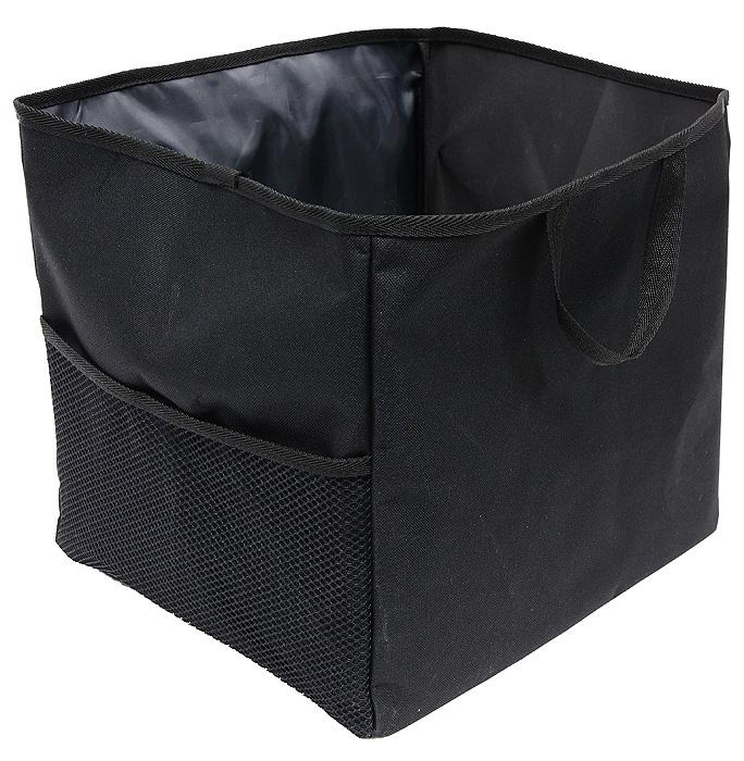 Сумка-органайзер в багажник Comfort Adress, складная, цвет: черныйbag 026Удобная сумка-органайзерComfort Adress, изготовленная из крепкой ткани, вместит в себя все, что разложено по углам багажника. Сумка имеет одно вместительное отделение. На внешней стороне расположен большой сетчатый карман, который отлично подойдет для удобного хранения инструментов. Вставки из плотного материала держат форму сумки-органайзера. На дне сумки пришиты липучки, препятствующие передвижение сумки по багажнику. Для удобной переноски сумки-органайзера имеются две ручки. Характеристики: Материал: непромокаемая ткань ПВХ 600D. Размер: 29 см х 35 см х 32 см. Цвет: черный. Производитель: Россия. Артикул: bag 026.