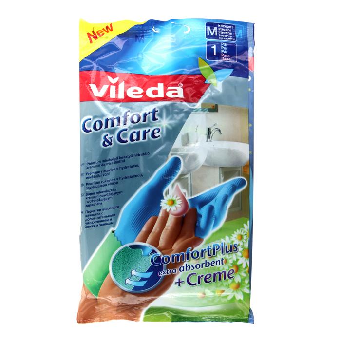 Перчатки Vileda Comfort & Care, с кремом для чувствительной кожи рук. Размер M