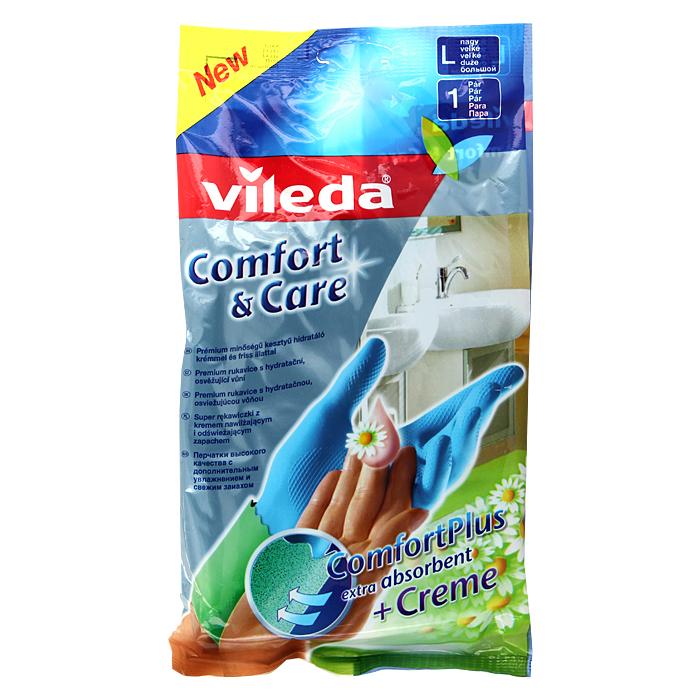 """Vileda / Виледа Перчатки Vileda """"Comfort & Care"""", с кремом для чувствительной кожи рук. Размер L"""
