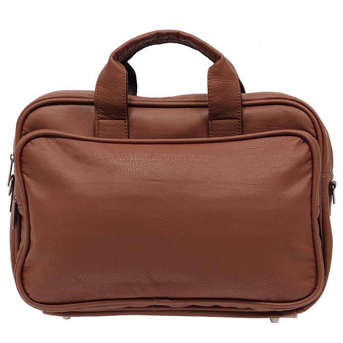 Сумка Antan Dress Code, цвет: коричневый. 8-48А8-48 АСумка Antan Dress Code, выполненная из искусственной кожи коричневого цвета, оформлена тисненым логотипом бренда на одной из сторон. На дне сумки имеются металлические накладки, которые защитят дно от повреждений. Сумка состоит из одного отделения, закрывающегося на застежку-молнию. Внутри два накладных кармана из сетчатой ткани. На внешней стороне с двух сторон располагаются два больших накладных кармана на застежке-молнии. К сумке прилагается съемный регулируемый ремень. Сумка - это стильный аксессуар, который подчеркнет вашу изысканность и индивидуальность и сделает ваш образ завершенным. Характеристики: Цвет: коричневый. Материал: искусственная кожа, текстиль, металл. Размер сумки: 40 см х 27 см х 14 см. Высота ручек: 7 см. Производитель: Россия. Артикул: 8-48А. Компания Antan существует уже более 10 лет. Свою деятельность она начинала с...