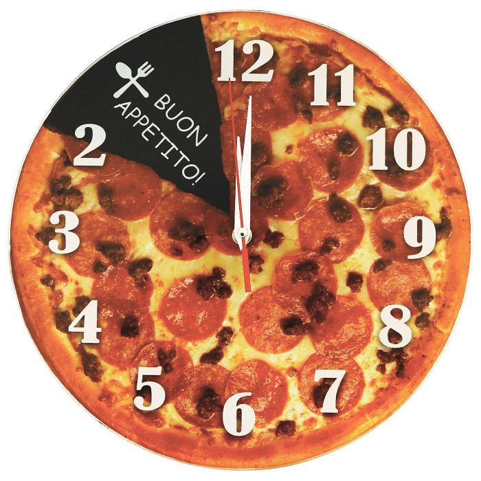 Настенные античасы Пицца. 9310193101Настенные кварцевые античасы Пицца своим оригинальным дизайном подчеркнут стиль интерьера вашего дома. Циферблат часов оформлен изображением пиццы. Часы выполнены с обратным механизмом хода (стрелки идут в обратную сторону), цифры расположены на циферблате против обычного хода часовой стрелки. Такие часы украсят комнату и привлекут внимание друзей и близких. Характеристики: Материал: металл, пластик, стекло. Размер часов: 28 см х 28 см х 2,5 см. Размер упаковки: 28,5 см х 30 см х 5 см. Артикул: 93101. Необходимо докупить 1 батарею напряжением 1,5V типа АА (не входит в комплект).